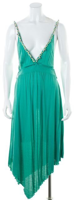 SEE BY CHLOÉ Green Jersey Braided Beaded Straps Midi Dress