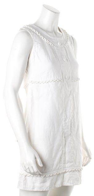 SEE BY CHLOÉ White Linen Scallop Piping Trim Sheath Dress