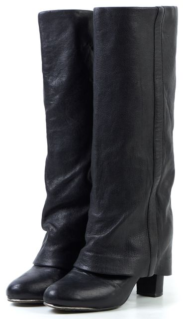 SEE BY CHLOÉ Black Leather Mid-Calf Foldover Boots