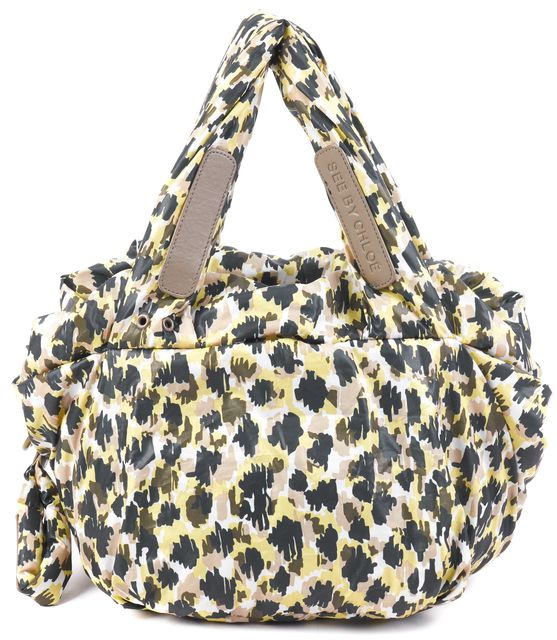 SEE BY CHLOÉ Yellow Olive Green White Camo Puffer Mini Tote