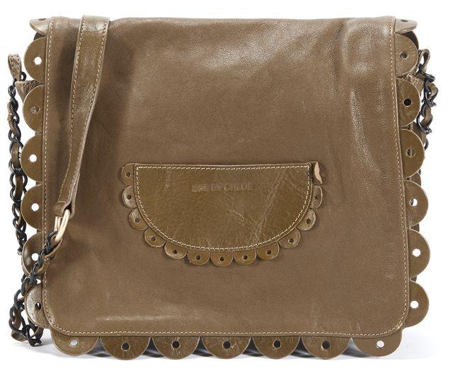 SEE BY CHLOÉ Army Green Leather Poya Crossbody Handbag