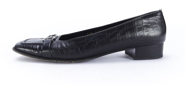 SALVATORE FERRAGAMO Black Croc Embossed Leather Buckle Loafer Flats