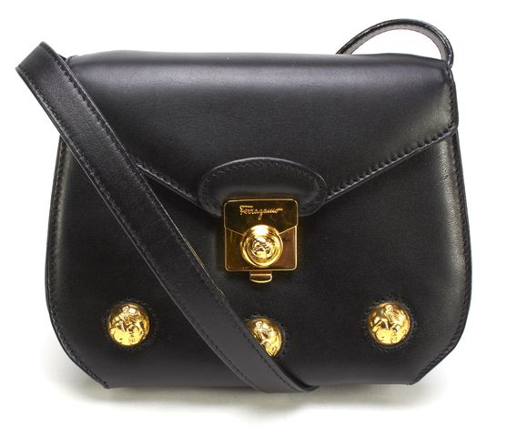 SALVATORE FERRAGAMO Black Leather Gold Hardware Mini Crossbody Bag