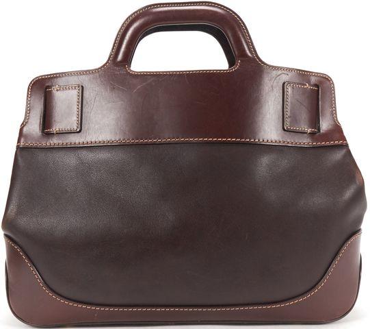 SALVATORE FERRAGAMO Brown Leather Gold Buckle Top Handle Bag