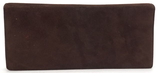 SALVATORE FERRAGAMO Brown Suede Silver Strap Flap Shoulder Bag