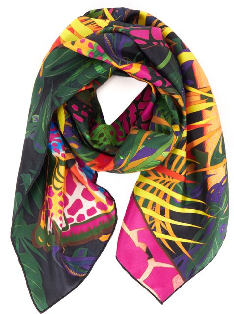 SALVATORE FERRAGAMO Pink Green Multi-color Giraffe Print Large Square Scarf
