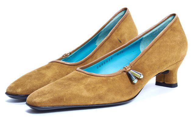 SALVATORE FERRAGAMO Brown Suede Tassel Detail Low Pump Heels