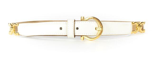 SALVATORE FERRAGAMO White Leather Gold Tone Gancini Belt