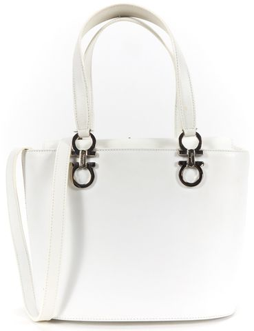 SALVATORE FERRAGAMO Authentic White Round Bottom Leather Handbag