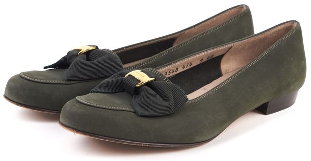 SALVATORE FERRAGAMO Olive Green Nubuck Leather Bow Details Loafer