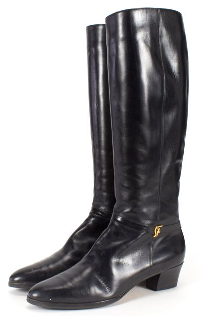 SALVATORE FERRAGAMO Black Leather Point Toe Knee High Boots