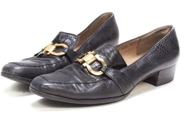 SALVATORE FERRAGAMO Black Croc Embossed Leather Double Gancini Loafers
