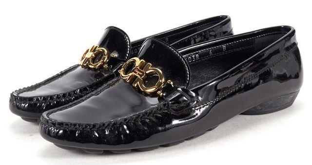 SALVATORE FERRAGAMO Black Patent Leather Double Gancini Loafer