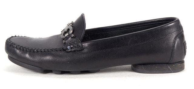 SALVATORE FERRAGAMO Black Leather Double Gancini Loafers