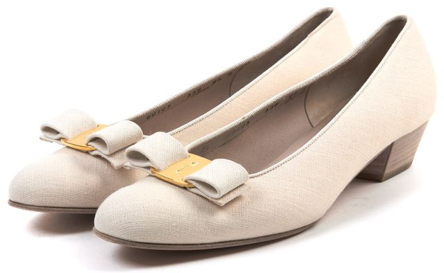 SALVATORE FERRAGAMO Beige Canvas Bow embellished Wooden Low Heel Loafer