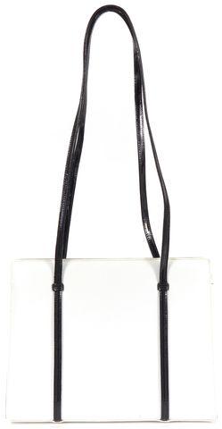 SALVATORE FERRAGAMO White Patent Leather Double Strap Shoulder Bag