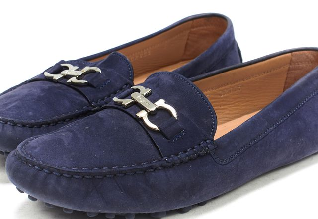 SALVATORE FERRAGAMO Navy Blue Suede Silver Gancini Loafers