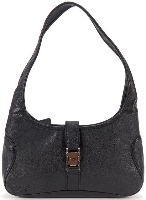SALVATORE FERRAGAMO Black Pebbled Leather Hobo Shoulder Bag