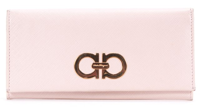 SALVATORE FERRAGAMO Pink Saffiano Leather Double Gancini Wallet