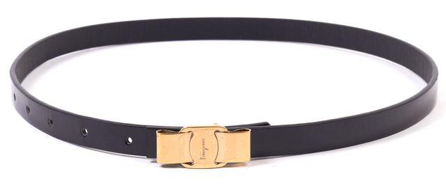 SALVATORE FERRAGAMO Black Patent Leather Bow Logo Waist Belt