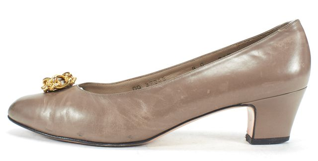 SALVATORE FERRAGAMO Taupe Gray Gold Chain Embellished Low Heel