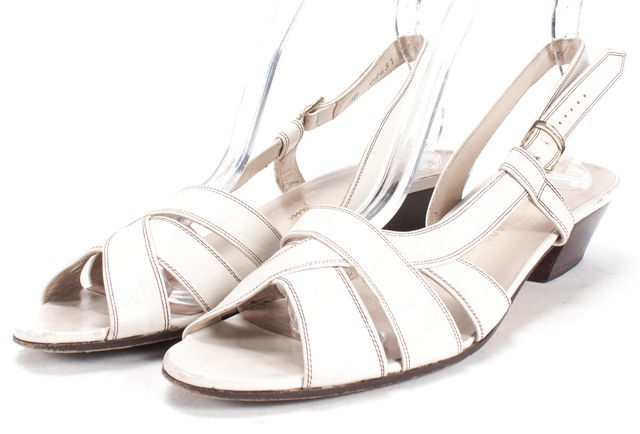 SALVATORE FERRAGAMO White Leather Contrast Stitch Sandals