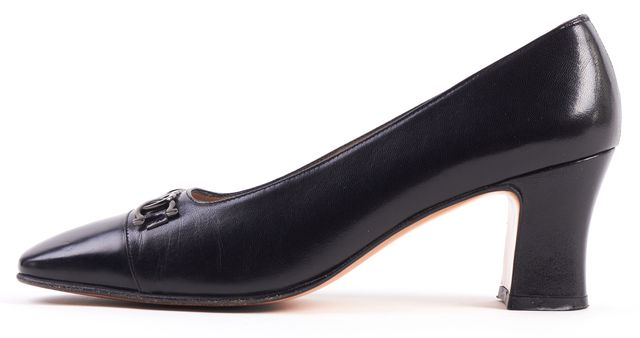 SALVATORE FERRAGAMO Black Leather Pump Heels