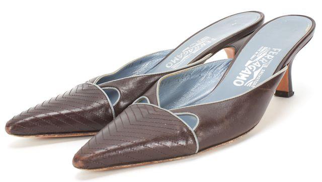SALVATORE FERRAGAMO Brown Leather Cut Out Kitten Heel Mule