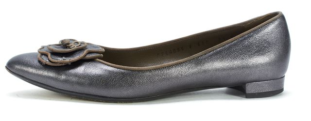 SALVATORE FERRAGAMO Pewter Leather Flower Embellished Flats
