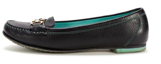 SALVATORE FERRAGAMO Black Pebbled Leather Simba Loafers