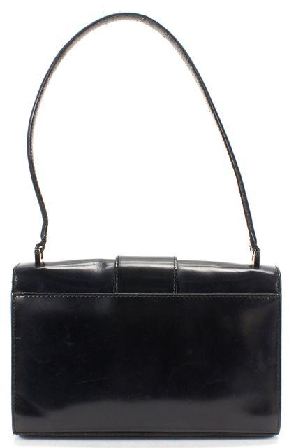 SALVATORE FERRAGAMO Black Leather Silver Hardware Shoulder Bag