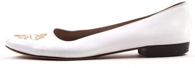 SALVATORE FERRAGAMO White Embroidered Leather Low Heel Ballet Flats