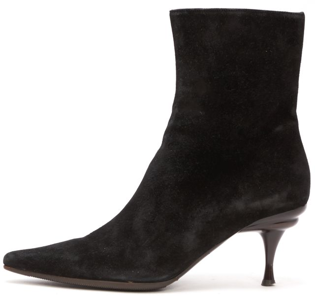 SALVATORE FERRAGAMO Black Suede Pointed Toe Ankle Boots Heels
