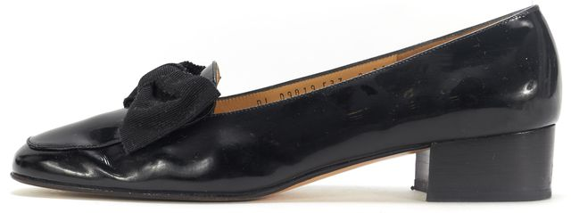 SALVATORE FERRAGAMO Black Patent Leather Drusilla Block Heel Loafers
