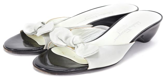 SALVATORE FERRAGAMO White Black Leather Faret Kitten Heel Sandals