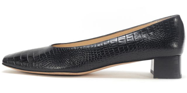 SALVATORE FERRAGAMO Boutique Black Embossed Leather Square Toe Pump Heels