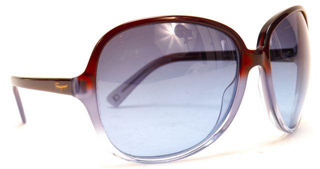 SALVATORE FERRAGAMO Blue Brown Acetate Frame Oversized Round Sunglasses