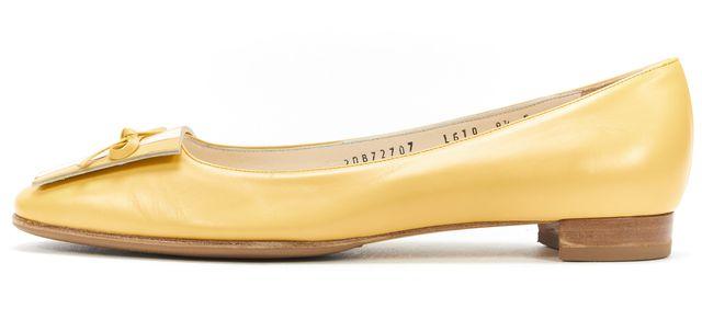 SALVATORE FERRAGAMO Yellow White Leather Round Toe Flats
