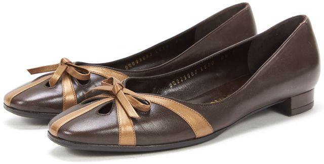 SALVATORE FERRAGAMO Brown Bronze Leather Round Toe Ballet Flats