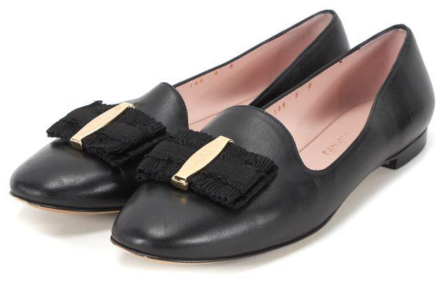 SALVATORE FERRAGAMO Black Leather Round Toe Flats US 8 IT 38.5
