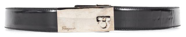SALVATORE FERRAGAMO Black Leather Silver Clasp Belt