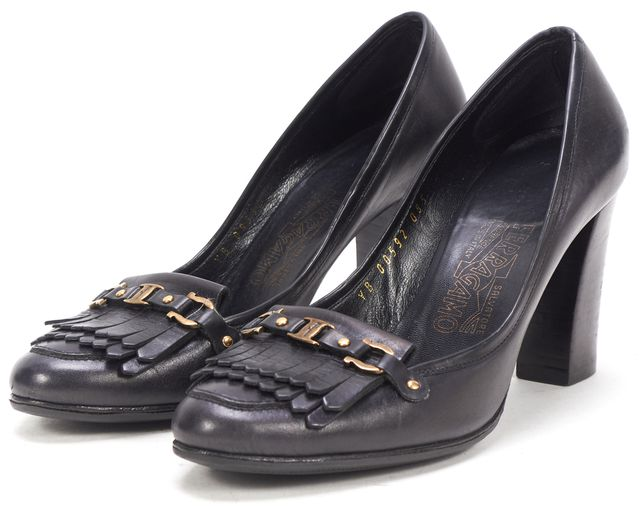 SALVATORE FERRAGAMO Black Leather Tassel Loafer Heels