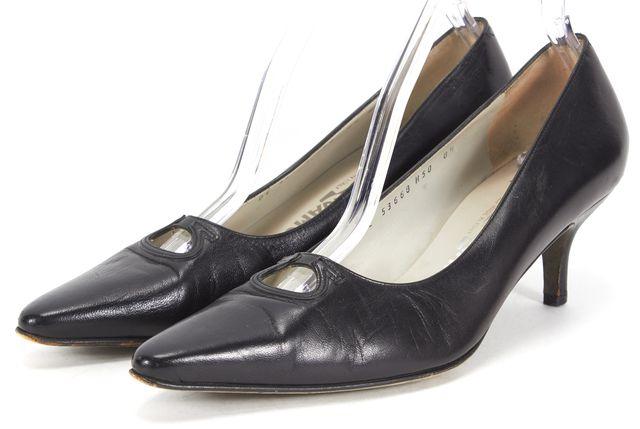 SALVATORE FERRAGAMO Black Leather Point-Toe Pump Heels