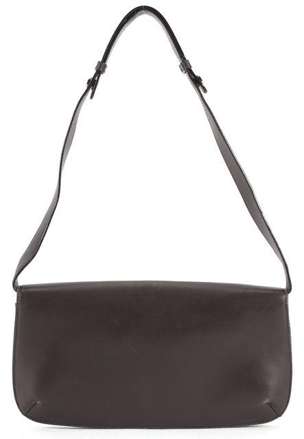 SALVATORE FERRAGAMO Brown Leather Wood Horsebit Shoulder Bag