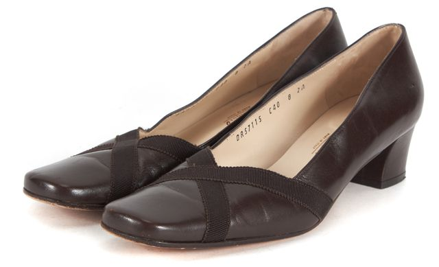 SALVATORE FERRAGAMO Brown Leather Canvas Trim Square Toe Heeled Loafers