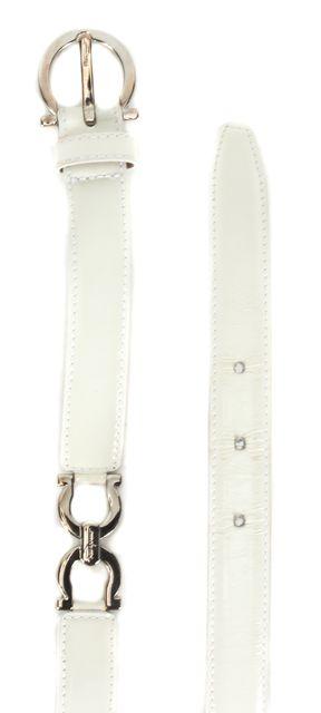 SALVATORE FERRAGAMO White Patent Leather Silver Hardware Belt
