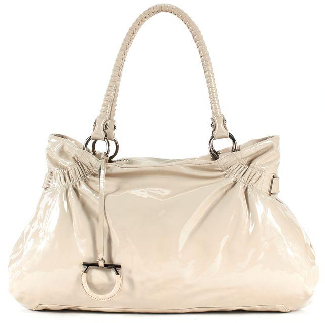 SALVATORE FERRAGAMO Ivory Patent Leather Braided Handle Shoulder Bag