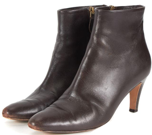 SALVATORE FERRAGAMO Chocolate Brown Leather Heeled Ankle Boots