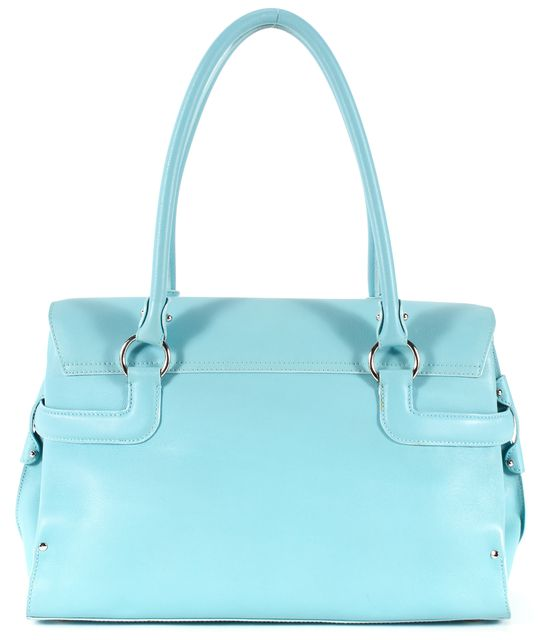 SALVATORE FERRAGAMO Teal Blue Leather Silver Hardware Top Handle Bag