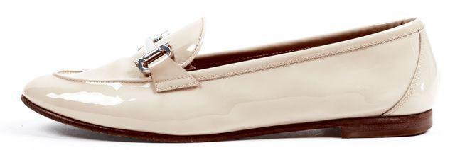 SALVATORE FERRAGAMO Ivory Patent Leather Loafers